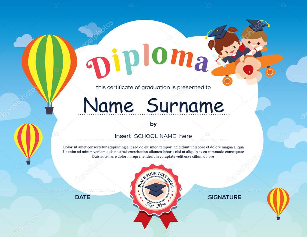 depositphotos 77603352-stock-illustration-preschool-elementary-school-kids-diploma
